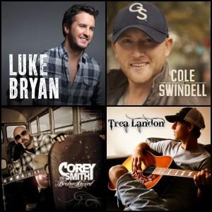 Luke Bryan, Cole Swindell, Corey Smith and Trea Landon album covers