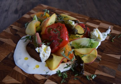 Tomato and Peach Salad With Shishito Peppers, Fresh Ricotta and Creamy Dill Dressing