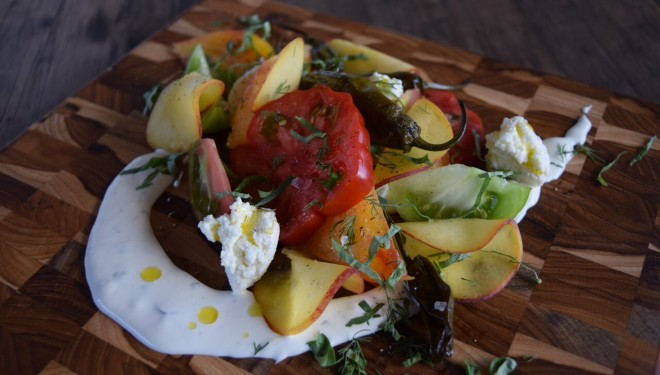 Tomato and Peach Salad With Shishito Peppers, Fresh ...