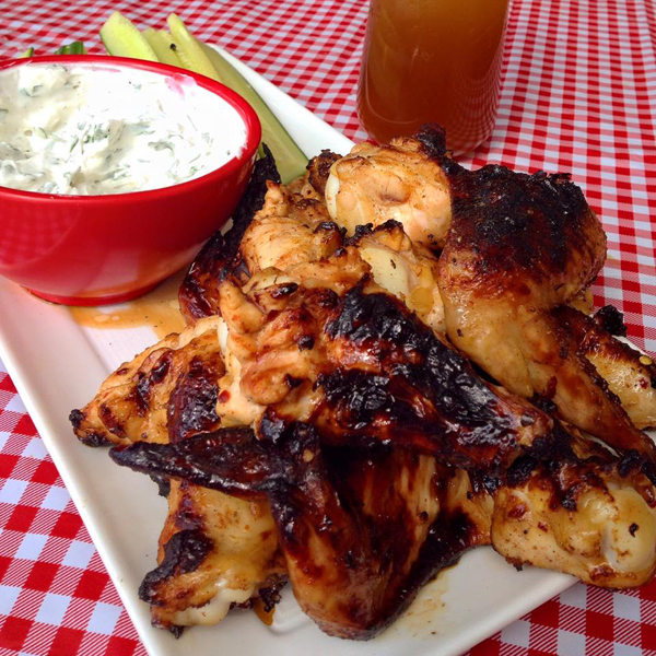 Beer Chicken Wings With Herbed Goat Cheese Dip Deep