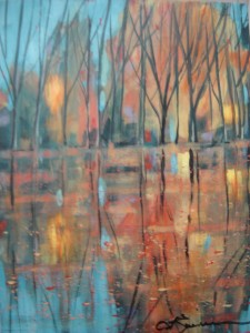 Fall Trees. Whiskey Painting by Lou Ann Zimmerman. Courtesy of Lou Ann Zimmerman